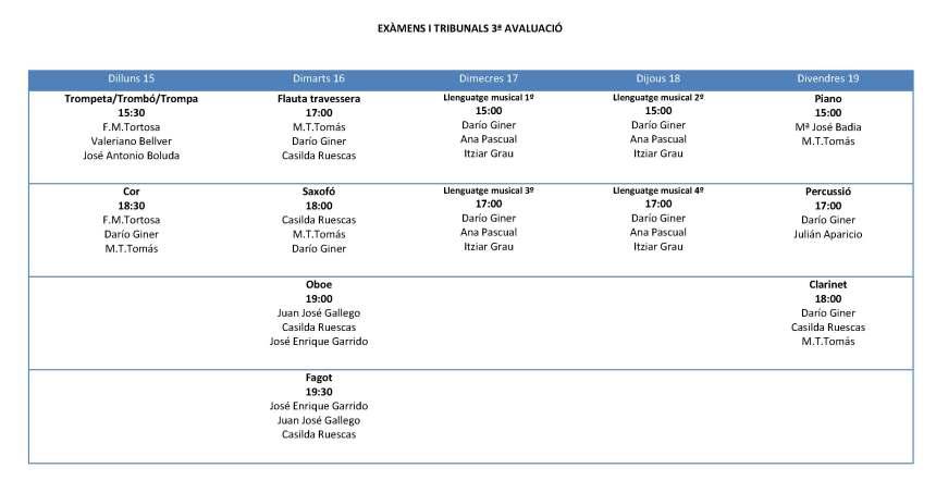 EXÀMENS I TRIBUNALS 3ª AVALUACIÓ
