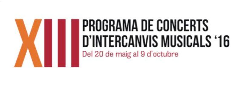 dissabte, 21 de maig de Concert d'Intercanvi a les 19:30 a l'Auditori Municipal